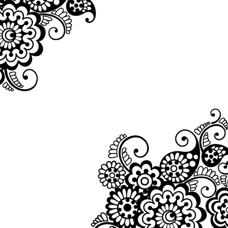 floral corner: Flower vector ornament corner