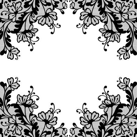 black and white plant: Flower vector ornament frame. Illustration