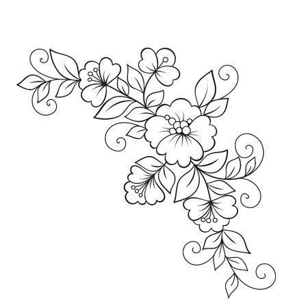 Flower ornament, design element. Vettoriali