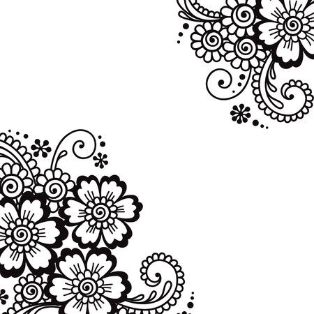 floral scroll: Flower vector ornament corner