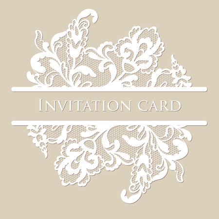 lace fabric: Vector lace card Illustration