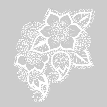 embroidery: Doodle Vector Illustration Design Element. Flower Ornament. Illustration