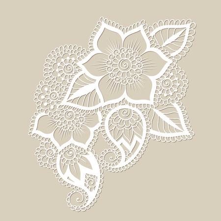bordados: Ilustración del vector del Doodle elemento de diseño. Ornamento de la flor. Vectores