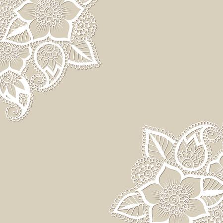 esquineros de flores: Blanca esquina flor, adorno de encaje