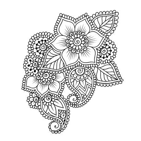 Doodle Vector Illustration Design Element. Flower Ornament. Çizim