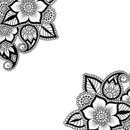 floral corner: Black flower corner, lace ornament