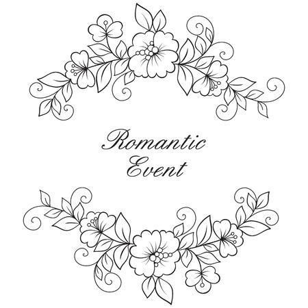 Flower vector ornament frame. Black flower frame, lace ornament