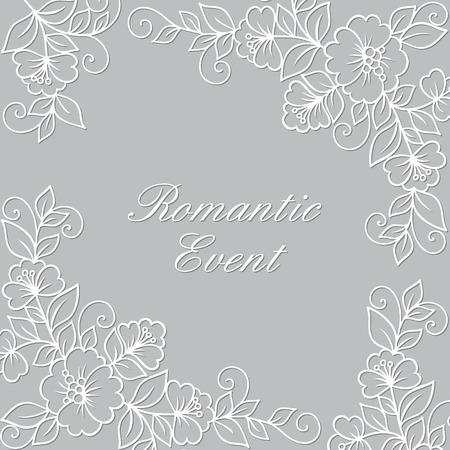 Vettore fiore ornamento telaio. Nero cornice di fiori, pizzo ornamento Archivio Fotografico - 43843444