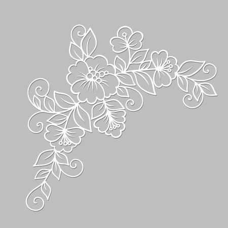 lace vector: Flower vector ornament. White flower lace ornament Illustration