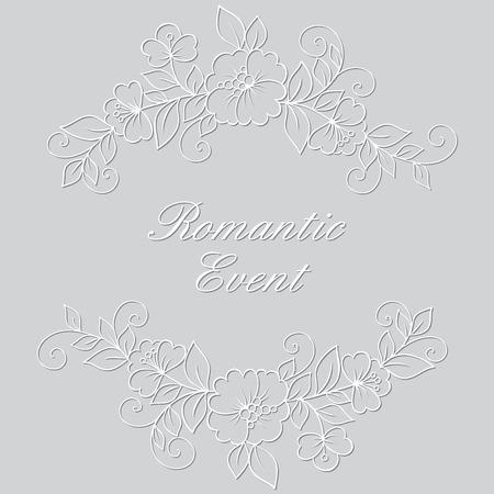ornament frame: Flower vector ornament frame. White flower frame, lace ornament