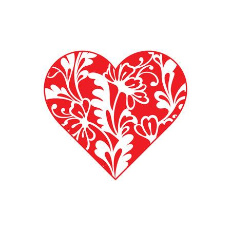 forma de corazón con el ornamento floral dibujado a mano