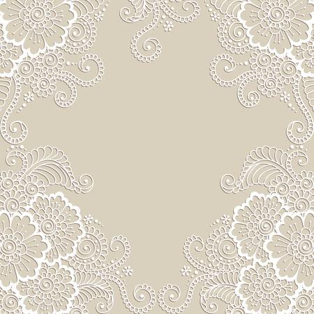 silhouette fleur: Blanc cadre fleur, ornement en dentelle