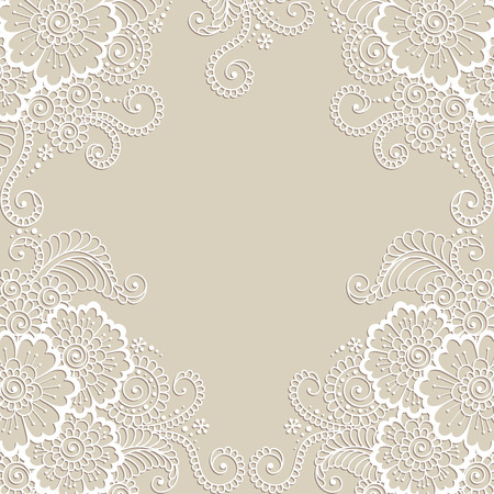corner design: White flower frame, lace ornament Illustration