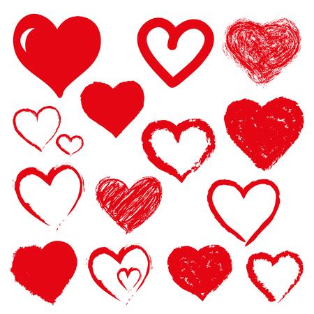 set of hearts. Red color Illustration