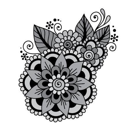 funky: Doodle Vector Illustration Design Element. Flower Ornament. Illustration