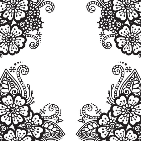 abstract tattoo: Black flower frame, lace ornament