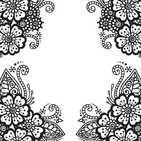 tatouage fleur: Cadre de fleur noire, ornement en dentelle