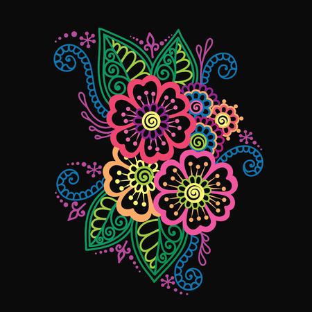 bright color: Doodle Vector Illustration Design Element. Flower Ornament. Illustration
