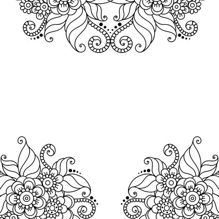 bordado: Negro marco de la flor, adorno de encaje