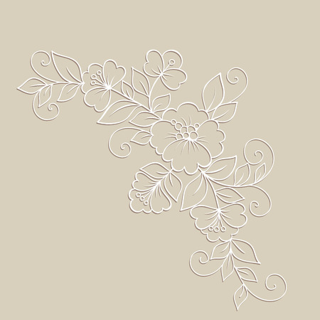 scroll design: Oriental white flower beautiful ornament. illustration.