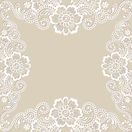 filigree background: White flower corner, lace ornament