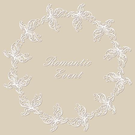 illustraton: Round lacy ornament with butterflies. illustraton. Illustration