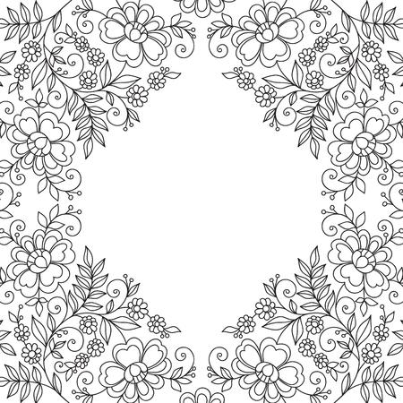Marco del diseño de la flor. Invitación o tarjeta de boda.