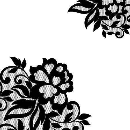 Zwarte bloem hoek, kant ornament Vector Illustratie