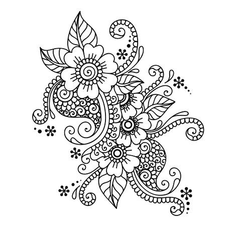 bordados: Ilustración Doodle elemento de diseño. Adorno de flor. Vectores