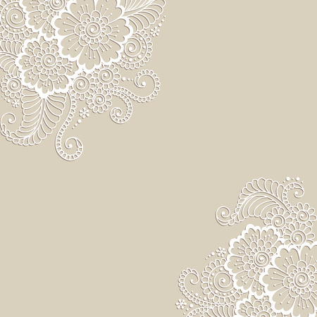 arabesco: Blanca esquina flor, adorno de encaje