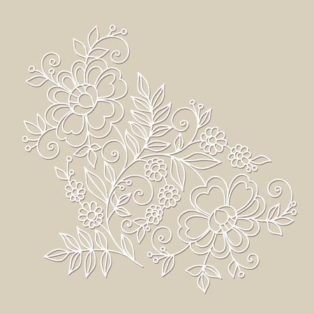 Flor elemento de diseño del ornamento. Dé las flores dibujadas.