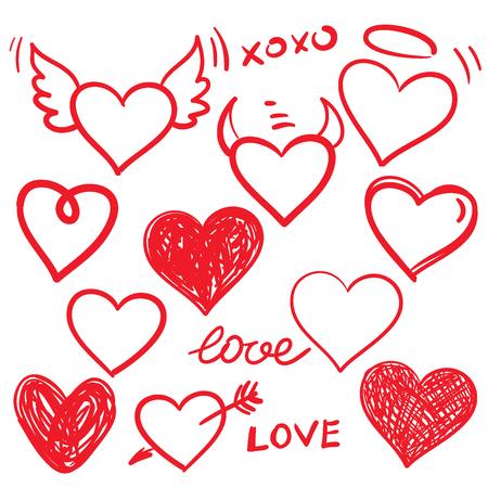 Vector hearts set. Hand drawn