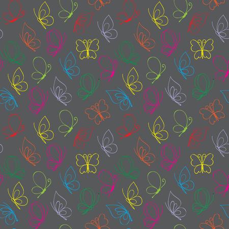Vector bright butterfly pattern Çizim