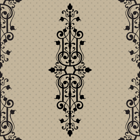 Vintage ornamental template with seamless pattern decorative frame