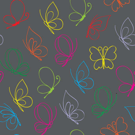 Hand drawn simple butterfly pattern. Multicolor Vectour illustration