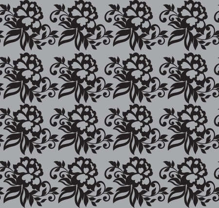 Vector Seamless lace flower black ornament. Иллюстрация