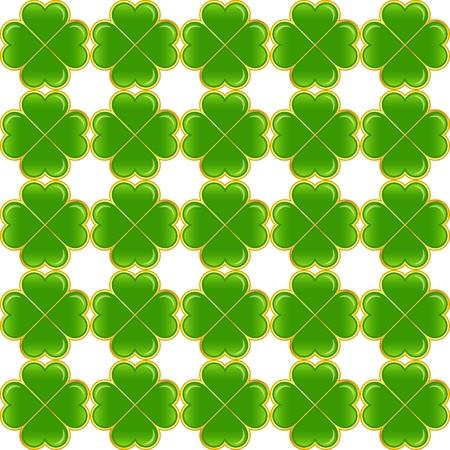 Seamless pattern of green clovers. Vector ornament. Иллюстрация