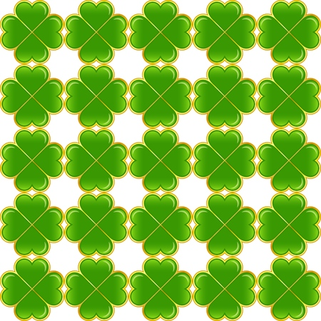 Seamless pattern of green clovers. Vector ornament. Illustration