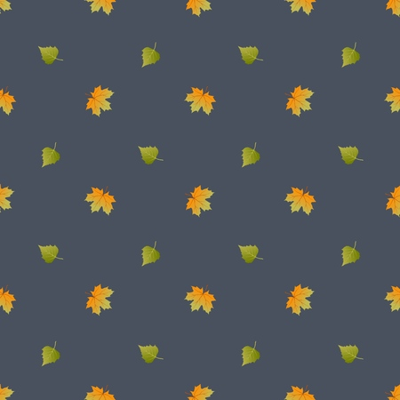 Vector seamless pattern with autumn leaves. Vector background. Çizim