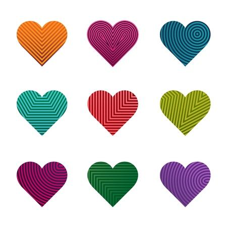 Set of vector multi-colored striped hearts.