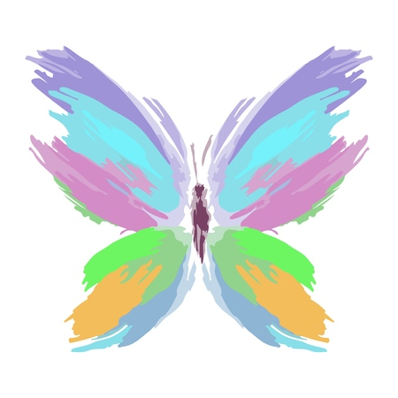 Butterfly from color splashes and line brushes. Vector.