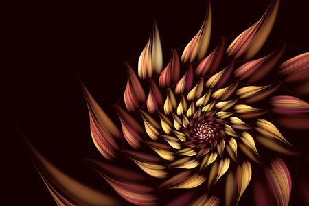 fractal resumen de una ilustración 2D, espiral, flor generada por computadora