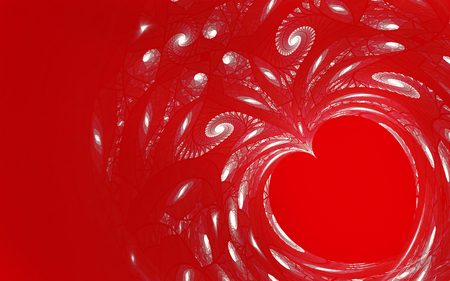 2d: abstract fractal background a computer-generated 2D illustration, heart, love, spiral