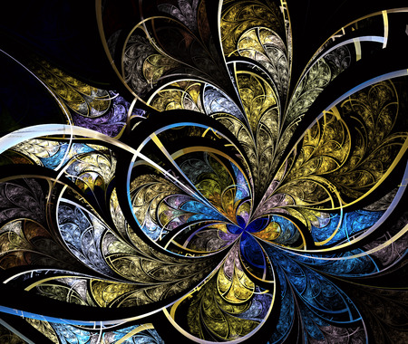 batik: Multicolored symmetrical fractal pattern as flower or butterfly in stained-glass window style. Computer generated graphics.