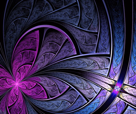 pigtail: Multicolored symmetrical fractal pattern as flower or butterfly in stained-glass window style. Computer generated graphics.