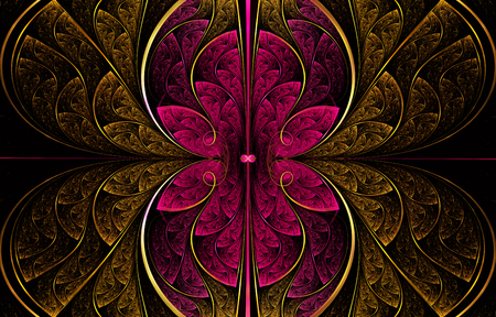 Multicolored symmetrical fractal pattern as flower or butterfly in stained-glass window style. Computer generated graphics