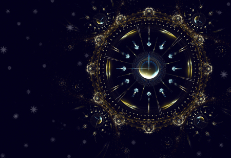 remaining: Cosmic clock shows the time remaining before the start of a new period of life, New Year Stock Photo