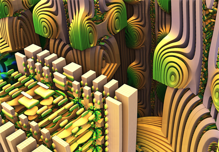 repetitive: Fractal 3D background, the city of the future