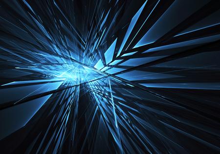 Imagen de tecnología abstracta generada por computadora. Textura fractal tridimensional, ilustración