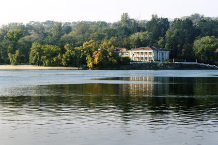 elite: Big house on the banks of the Dnieper River Stock Photo